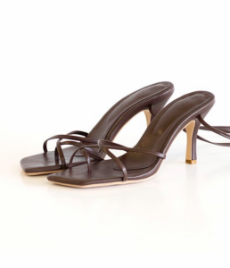 AM:PM dark brown nude heeled sandal